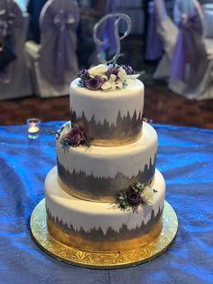 Calumet Bakery Gold Painted Fondant Wedding Cake