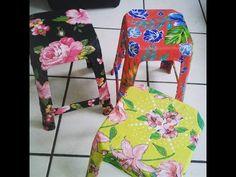 Como revestir um banquinho com tecido   por Luciana Aragão - YouTube