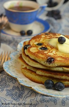 Blueberry Ricotta Pancakes with Lemon from Whole Food | Real Families are so decadent, you are not going to believe they are whole wheat. Ricotta gives these pancakes a rich flavor while the lemon gives them a fresh citrus kick. Get the breakfast recipe at www.wholefoodrealfamilies.com