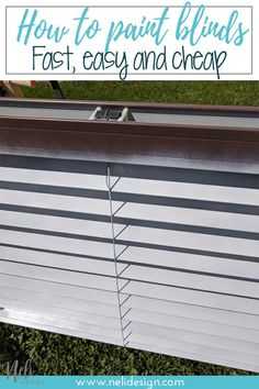 How to paint blinds the fastest and cheapest way. Spray paint your plastic or wooden blinds in one afternoon. It won't cost you much to change your window treatment and you'll get a great look. This method is fast and affordable. #spraypaint #windowtreatment #makeover #diy Pvc Blinds, Faux Blinds, Painting Blinds, Spray Painting, Blinds For Less, Grey Curtains, Old Windows, Big Project, Home Reno