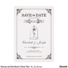Beauty and the Beast   Fairy Tale - Save the Date Card