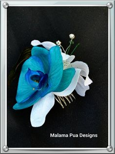 SILK FLOWER HAIR Comb  Turquoise Teal Orchid Lily by MalamaPua