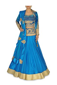 Peacock Blue Lehenga with Velvet Blouse