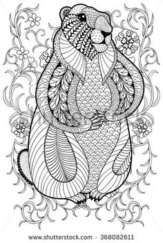 Coloring Pages Print Hand Drawn Artistic Marmot Groundhog In Flowers For Adult Page Size Doodle Zentangle Style Ethnic Ornamental Patterned