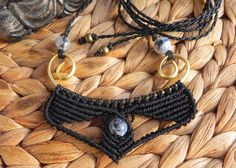 Macrame necklace with brass wire and agate beads boho by QuetzArt