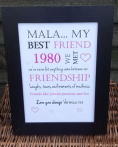 Original and personalised Birthday Gift  in A4 - send in names and dates and bobs your uncle, a beautiful item..