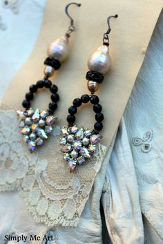 Sparkling AB Vintage Rhinestone Baroque Pearl and by simplymeart, $56.00 ... Great idea for vintage earrings ks notes