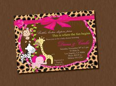 Printable Invitation Jungle Animal Baby Shower by ALLEWIREDUPs, $8.99