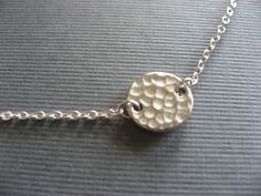 Hammered Disk Necklace SIlver Choker by donnabjewelry on Etsy, $16.50