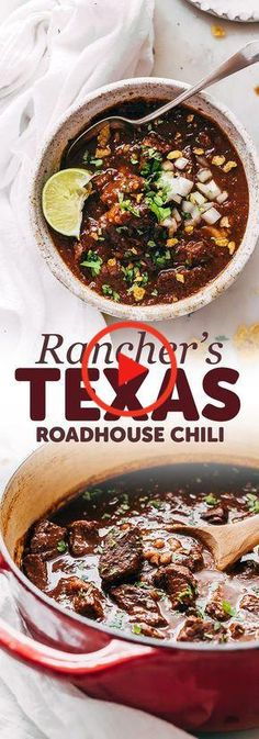 Rancher's Texas Chili (Chili con Carne) - Learn how to make texas chili or chili con carne! This is an easy recipe that uses chuck roast rather that ground beef and is so hearty and filling! recipes with ground beef Chilli Recipes, Mexican Food Recipes, Beef Recipes, Soup Recipes, Cooking Recipes, Chuck Roast Recipes, Texas Chilli Recipe, Meatless Recipes, Cooking Kale