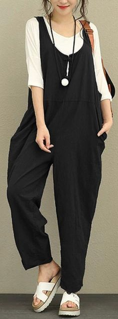 UP TO 46% OFF! Vintage Pure Color Frog Button Loose Women Sleeveless Jumpsuits. SHOP NOW!