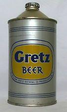 Rare Gretz  Beer 32 oz. Quart Cone Top Beer Can-Wm. Gretz Brewing, Philadelphia