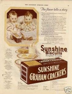 Sunshine Graham Crackers Color (1923)  the typography on the cracker box would be great to use at the top of the frame of the babies. so gorgeous!
