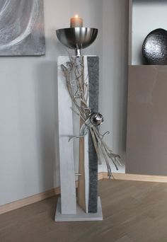 GS71 – Große gespaltene Säule für Innen und Außen! Große gespaltene Säule, dekoriert mit natürlichen Materialien, Filzband, Edelstahlkugel und einer Edelstahlschale! Preis 99,90 € – Mit Beleuchtung 109,90€ Höhe ca 105cm