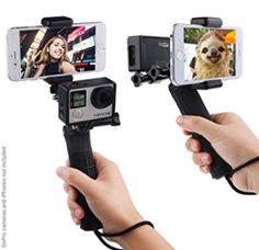 Stabilizing Hand Grip for GoPro Hero 5 4 3 3 with Dual Mount Tripod Adapter and Universal Phone Holder Record Videos with 2 Different Camera Angles Simultaneously Steady Shot Photography Selfies Camera Aesthetic, Handheld Camera, Selfies, Go Pro, Nikon Dx, Dslr Photography Tips, Phone Photography, Photography Equipment, Outdoor Photography