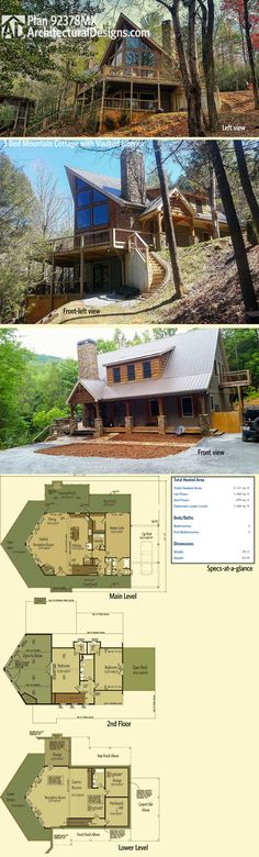 Architectural Designs Exclusive Plan 92378MX - 3 Bed Mountain Cottage with Vaulted Interior has a traditional rugged mountain cottage look from the front. And a welcome departure on with spectacular 2-story windows and a wraparound deck.  Ready when you are! Where do YOU want to build?