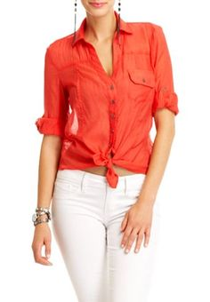 Melissa Button Down Shirt, $29.95.  Can be worn tied up or down.