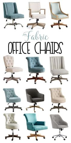 Beautiful Fabric Office Chairs! Creamy white, teal, tufted and gray chairs to check out! #domesticallyspeaking #chair #officechair #fabrics #tufted