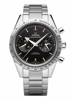 New 2015 Special Edition Omega Speedmaster '57 (with Broad-Arrow hands) with Omega's in-house 9300 movement. Approx. $8,500 US. 41.5mm. Note, the latest Speedmaster Professional case is 42mm and the 9300-based Speedmaster is 44mm. Also note the broad-arrow hands, no crown-guard, polished case and steel bezel.