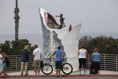 """The """"Cardiff Kook"""" was almost an early morning snack for a lucky papier-mâché great white. Photo: Gilley"""
