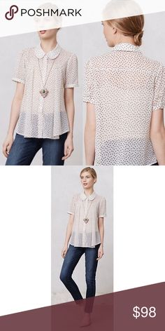 Dotted Clara Blouse by Two of Us Excellent condition. Looks new. Anthropologie Tops Blouses