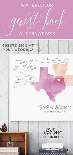 Gorgeous watercolor wedding guest book alternatives with custom states or countries of your choice! OBSESSED :)