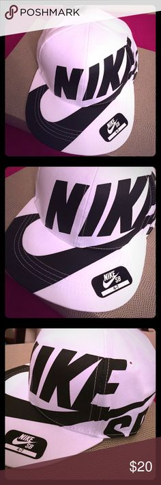 🆕 Nike Kids SnapBack Cap Unique Design that you will not find elsewhere. Authentic Nike Kids SnapBack Cap. Unisex. Size: 4-7. White with Bold Black Nike SB LOGO on the Front & ends on the Left Side. Vented. Black & White Nike Logo Tab on the Left Side of the Adjustable Black SnapBack. Partially Lined. 100% Polyester. Brand New. Excellent Condition. No Trades. Nike Accessories Hats