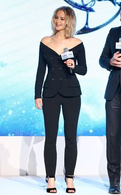 J. Law kept it simple and sophisticated in an all-black, off the shoulder number while screening her latest film in Beijing, China on Dec. 17.