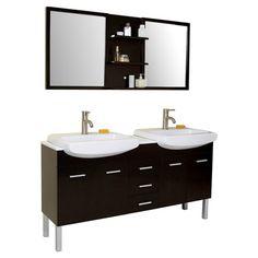 "Found it at Wayfair - Stella 59"" Double Vetta Modern Bathroom Vanity Set with Mirrors"