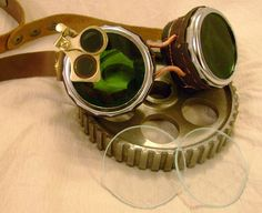 SteamPunk Goggle with Interchangeable Real Glass Lenses and Leather Details -Ricks SteamPunk Etc