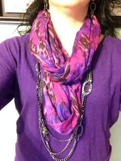 Combo of the day: Urbanite necklace and earrings worn with a scarf.      www.facebook.com/YourDazzlingJewelryDiva