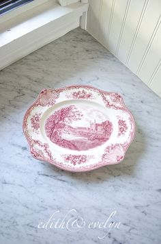Vintage Pink Transferware Ironstone Platter, English, Old Britain Castles by edithandevelyn on Etsy