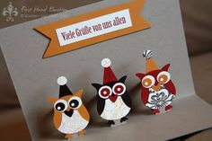 Owl pop-up card. Happy birthday from owl of us.