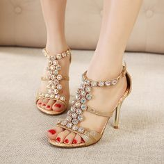39.00$  Buy here - http://alia12.shopchina.info/1/go.php?t=32812224298 - Gold Women's Sandals Rhinestone Crystal Thin Heel High Heels Ankle Strap Woman Sandals Peep Toe Womans Summer Shoes Gladiator  #buychinaproducts