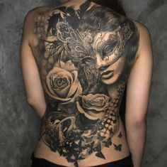 Tattoo woman with mask and roses  - http://tattootodesign.com/tattoo-woman-with-mask-and-roses/  |  #Tattoo, #Tattooed, #Tattoos