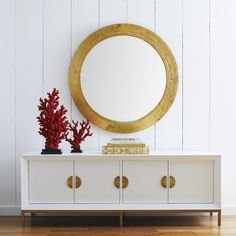 A tapered twist on a classic, the gold leaf tapered round mirror is a timeless piece. This mirror is elegant, with a gold leaf finish and a beveled-edge. Decorative Accessories, Home Accessories, Black And Gold Bathroom, Beveled Edge Mirror, Round Mirrors, Instagram Shop, New Furniture, Gold Leaf, Home Improvement