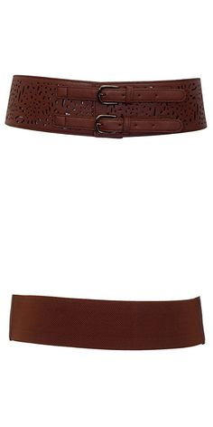 40c2d9d649 EVogues Plus Size Vintage Faux Leather Wide Elastic Belt Brown - One Size  Plu