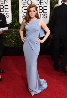 72nd Annual Golden Globe Awards 2015 Amy Adams One Shoulder Floor Length Mermaid Evening Dresses Red Carpet Celebrity Dress