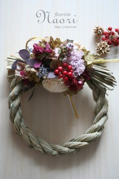 Japanese New Year wreath 2013 Christmas Tree Toy, Christmas Wreaths, Japanese New Year, Wedding Flower Design, Japanese Festival, New Years Decorations, Diy Wreath, Dried Flowers, Floral Arrangements