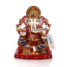 70eb97928b Collectible India Ganesha Idol Hindu God Taj Ganesh Stone Statue Handpainted