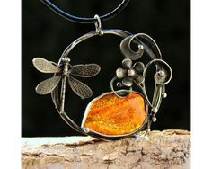 Hot Day - Natural Baltic Amber Soldered Wire Pendant $55 by AtelierQ