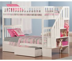 Woodland Staircase Bunk Bed Twin over Twin with Flat Panel Bed Drawers in White