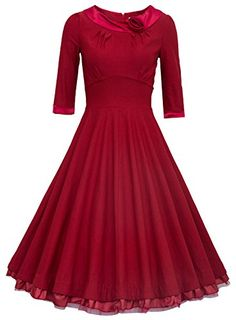 Fashion Bug Plus Size Ladys 1950s Rockabilly 3/4 Sleeve Swing Vintage Dress www.fashionbug.us #plussize #fashionbug #vintage #pinup #rockabilly 1X 2X 3X 4X 5X
