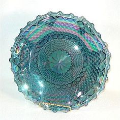 Indiana Blue Carnival Glass Ruffled Hostess Plate