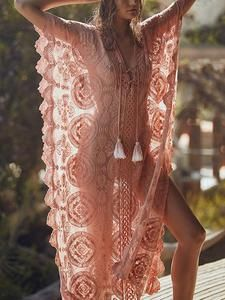 Pink Lacy Split-joint Beach Cover-up Maxi Dress Rosa Lacy Split-Joint Strand Vertuschung Maxi-Kleid Plus Dresses, Maxi Dresses, Sleeveless Dresses, Bohemia Dress, Bohemian Mode, Lace Outfit, Dress Rings, Swimsuit Cover Ups, Beach Covers