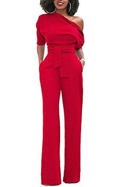 bfe7967df6d1 Lihuang Women s Sexy One Shoulder Solid Jumpsuits Wide Leg Long Romper Pants  With Belt Jumpsuits For