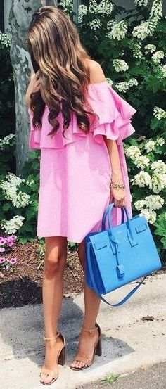 Off the Shoulder Pink Dress Source