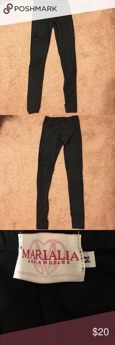 Super sexy leggings Black, super shiny, super snug, shredded leggings! NWOT ripped knees and upper thigh front and back Pants Leggings