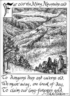 (Symbol Earth Symbols-Mountain)- Tolkien, The Hobbit- over the Misty Mountains Gandalf, Legolas, Aragorn Lotr, Jrr Tolkien, Tolkien Quotes, Book Quotes, Narnia, Les Gobelins, O Hobbit