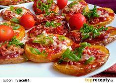 "Bramborové ""mini pizzy"" recept - TopRecepty.cz Gnocchi, Bruschetta, Baked Potato, Cheesecake, Food And Drink, Potatoes, Baking, Party, Ethnic Recipes"